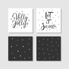 Modern creative Christmas cards with hand drawn calligraphy in black and white. Vector illustration.