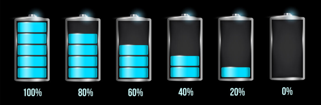 Creative vector illustration of 3d different charging status battery load isolated on transparent background. Discharged power sources. Art design. Abstract concept graphic element for displays, icon