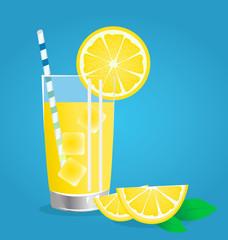 lemonade with Fresh lemon fruits vector illustrations