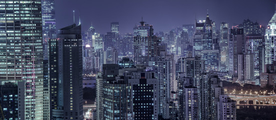 building exterior and cityscape in Shanghai at night