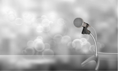 Vector Illustration of the microphone isolated on gray bokeh abstract background.
