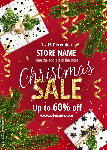 the christmas sale discounts up to 60 percent banner for website or advertising flyer