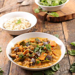 aubergine curry and rice