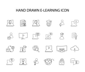Hand drawn icon set. E-learning pack. Vector illustration