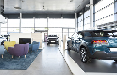 Expensive vehicles for sale and rent in car showroom with armchairs