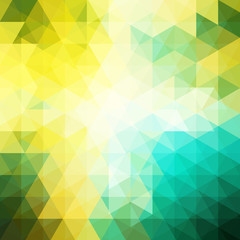 Background of yellow, white, green geometric shapes. Abstract triangle geometrical background. Mosaic pattern. Vector EPS 10. Vector illustration
