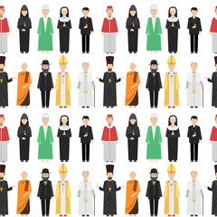 Religion people characters vector group of different nationalities human wearing traditional clothes seamless pattern background.
