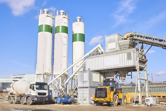 Cement factory at sunny day