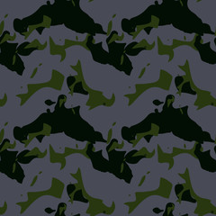 Military camouflage seamless pattern in gray-violet and green colors