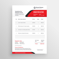stylish red theme invoice template