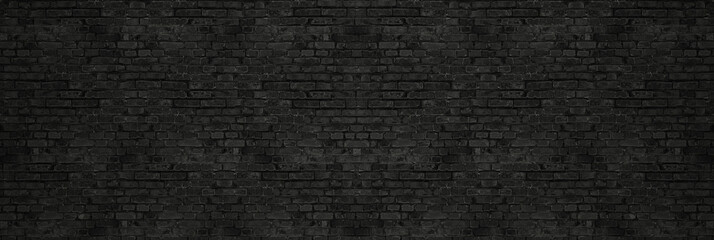 Fotobehang Baksteen muur Vintage Black wash brick wall texture for design. Panoramic background for your text or image.