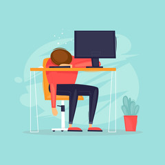 Sleeps at the table, long hours of work, business, office life. Flat design vector illustration.