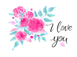 Greeting card with roses. Handwritten note, thank you