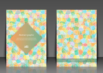 Flyer template with abstract background. Abstract square pixel mosaic background. Eps10 Vector illustration