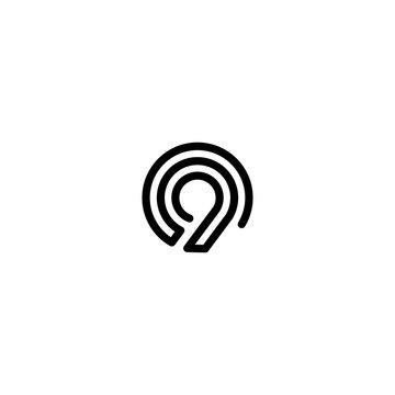 nine number double triple line art outline monoline logo