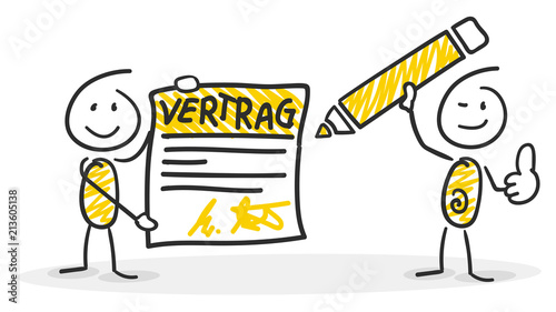 Sticky / Strichmännchen - Vertrag, Unterschrift\