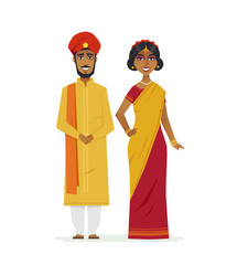 Happy Indian couple - cartoon people characters isolated illustration