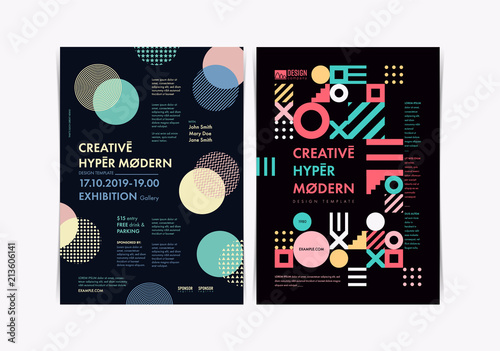 set of flyer templates with geometric shapes and patterns 80s memphis geometric style vector