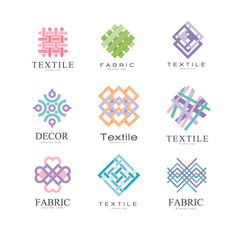Flat vector set of original logos for fabric or textile shop. Colorful geometric emblems. Elements for business card, advertising poster or banner