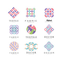 Flat vector set of abstract logos for fabric, textile and decor store. Original emblems of different shapes with place for text