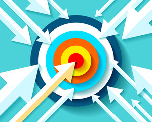 Volume Target icon in flat style on color background. Arrows fly to the center aim. Vector design element for you business projects