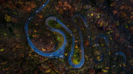 Nikko 's winding road in autumn, Japan