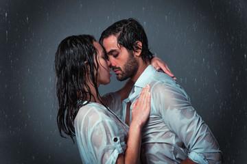 Couple under the rain