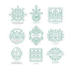Vector set of original organic logos. Linear emblems with abstract leaves for natural cosmetics, eco food products or wellness center