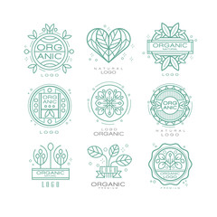 Vector set of organic and natural logo design templates. Linear emblems for eco cosmetics, farm food products or spa center