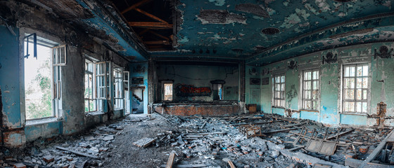 Ruins of the destroyed assembly hall in the house of culture in Samara, Russia