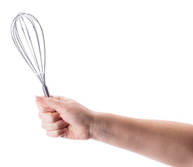 Female holding in hand whisk
