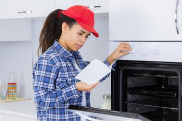 female oven technician
