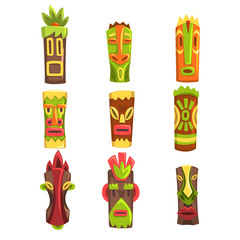 Traditional religious totems set, colorful ethnic tribal ritual masks vector Illustrations on a white background