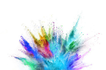 Colored powder explosion on white background.