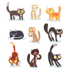 Flat vector set of different cats. Funny cartoon characters. Home pets. Cute domestic animals. Elements for poster, sticker or mobile game