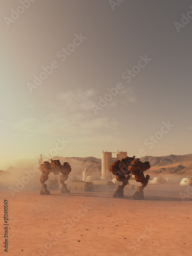 """Giant Battle Robots Guarding a Martian Colony - science fiction illustration"" Stock photo and royalty-free images on Fotolia.com - Pic 213610569"