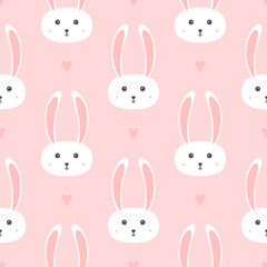 Repeated hearts and heads of little rabbits. Seamless pattern for girls.