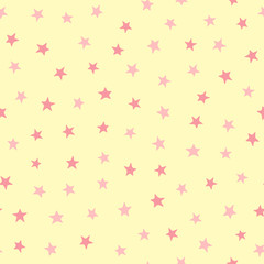 Cute girly seamless pattern with repeating stars. Endless sprint for girls.