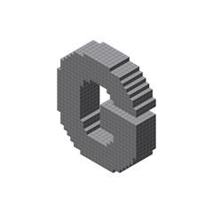 3d pixelated capital letter G. Vector illustration. 3d isometric style.