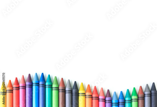 Fototapete crayon drawing border multicolored background