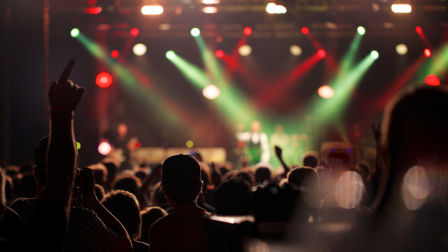Cheering crowd enjoying rock concert of their favorite band
