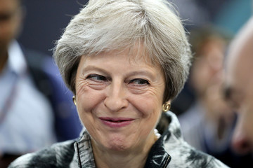 Britain's Prime Minister, Theresa May arrives to open the Farnborough Airshow, in Farnborough