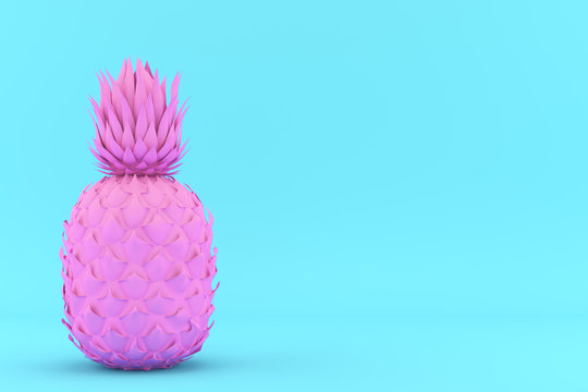 Painted Pink Pinapple on Blue Background. Modern Fashion Design in Minimal Style. Vivid and Pastel color. 3D render Illustration