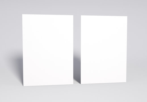 Blank 2 white Pages Mock up, 3d rendering. Soft shadow.