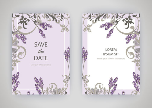Set of card with flower lavender, leaves. Wedding ornament concept. Floral trendy poster, invite. Vector decorative greeting card or invitation design background