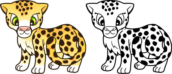 cartoon cute little cheetah, design funny illustration