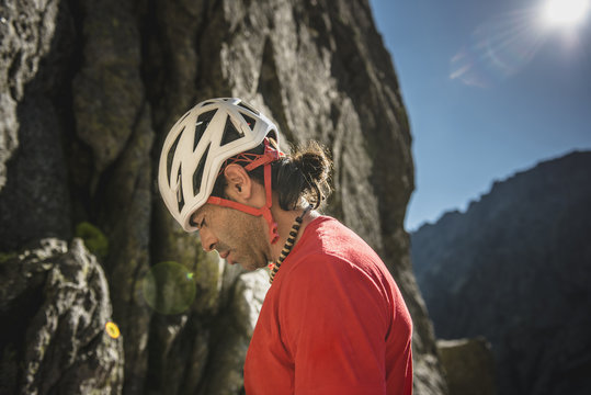 Portrait of a climber wearing helmet ready to climb