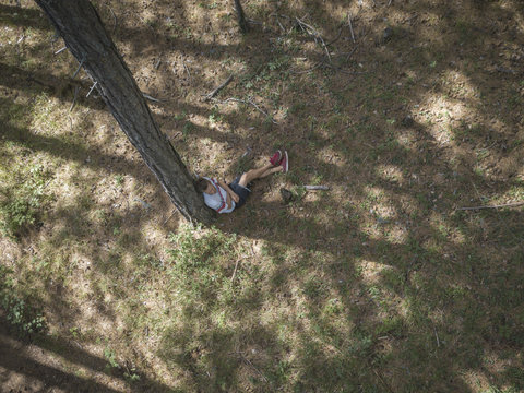 young man in casual sitting dreaming under the tree in the forest aerial top view
