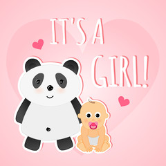 Vector cute pink greeting shower card it's a girl with baby and panda.