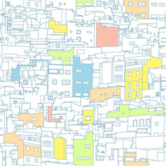 impossible town digital drawing seamless background